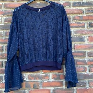 Free People Beautiful Blue Lace Top Medium